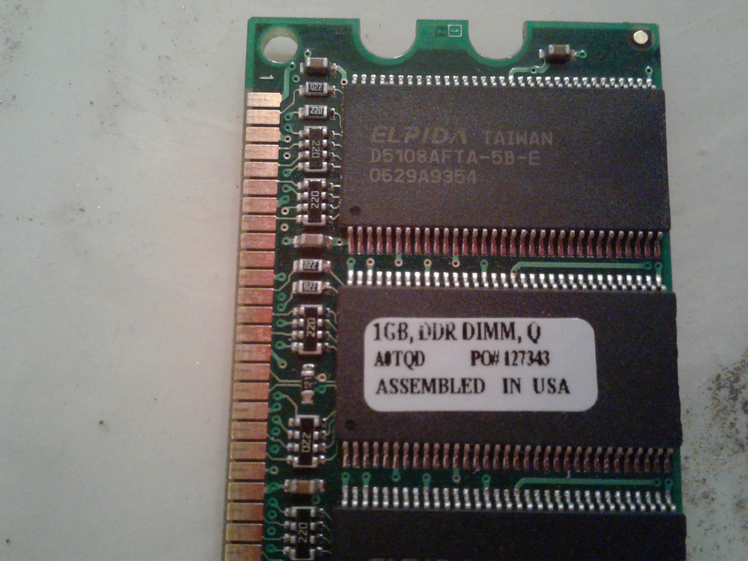 1GB RAM, DDR DIMM, ELPIDA, ASSEMBLED IN USA