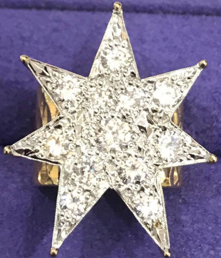 Women's 14K Star Ring 7 Sided Yellow Gold with SI1 diamonds