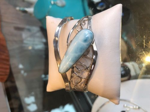 Sterling Silver Cuff Bracelet with Larimar Stone