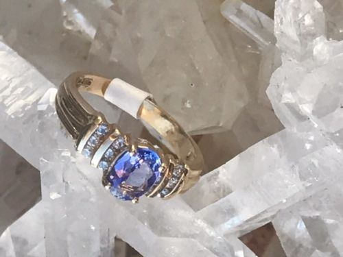 14KT Yellow Gold Ring with Tanzanite and Diamonds