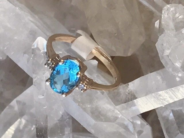 14KT Yellow Gold Ring with Topaz and Diamonds