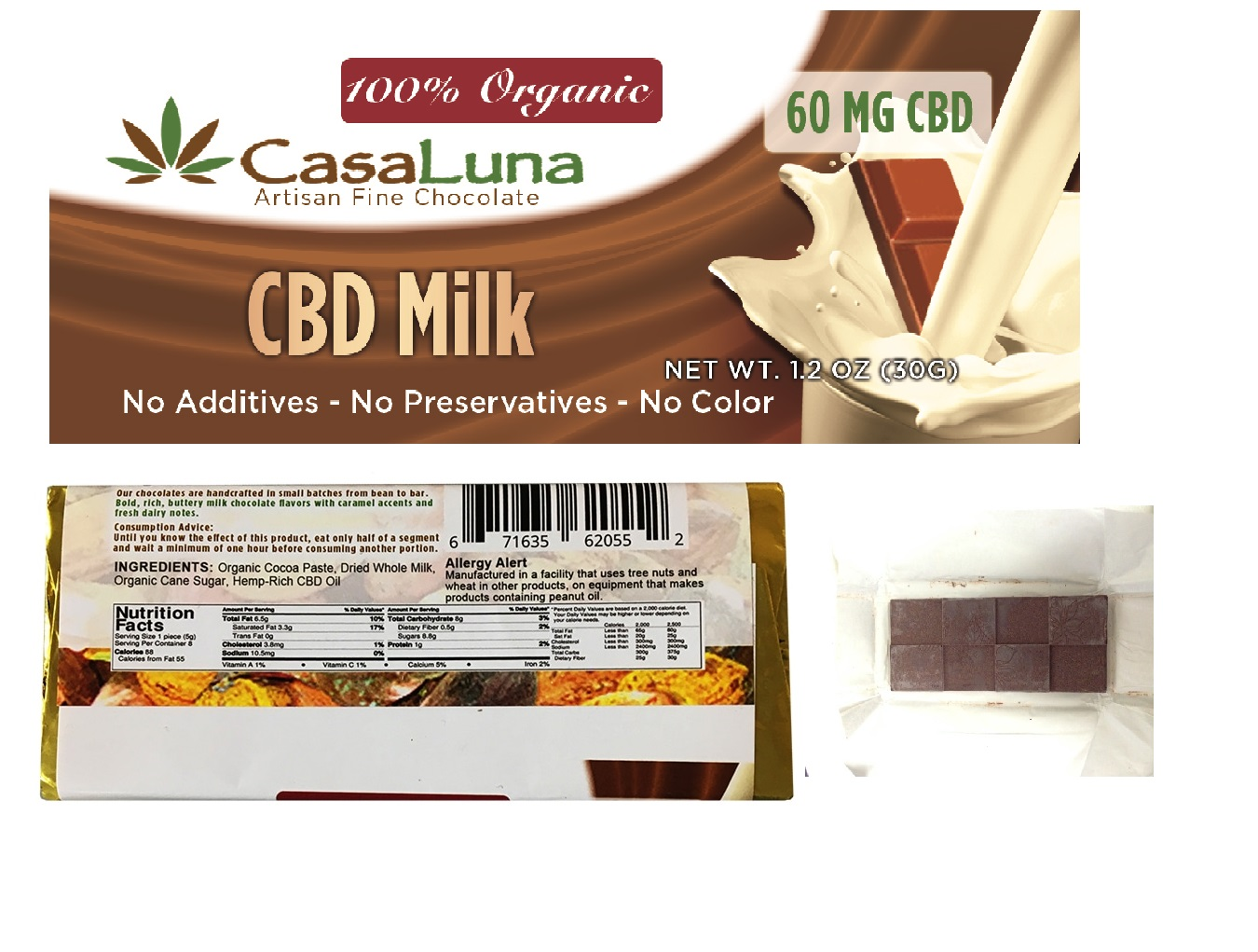 CasaLuna – Organic Hemp Oil Milk Chocolate Bars (60mg CBD)
