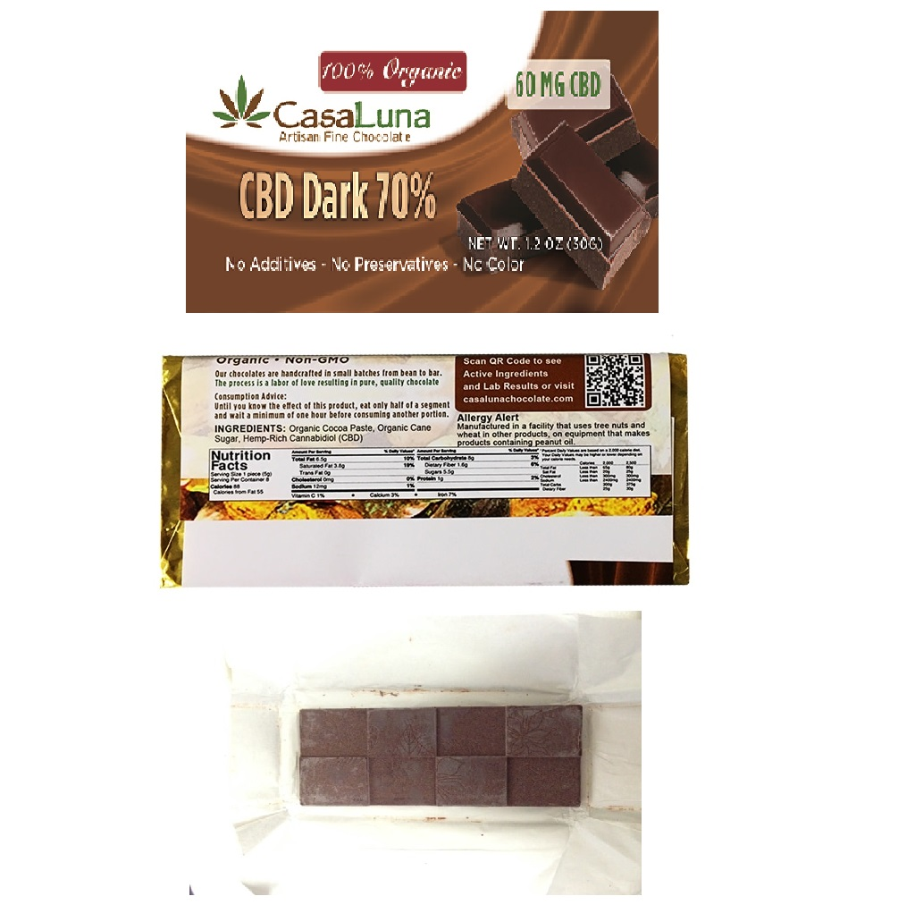 CasaLuna – Organic Hemp Oil Dark Chocolate Bars (60mg CBD)
