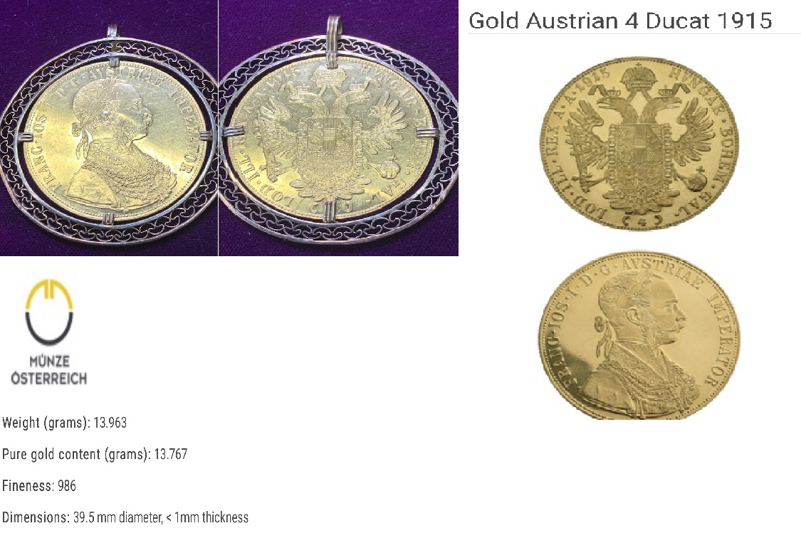 Pure Gold Antique Vintage Pendant Austrian 4 Ducat 1915